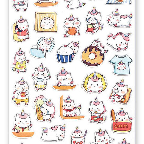 unicorn cute donut drinks sticker sheet