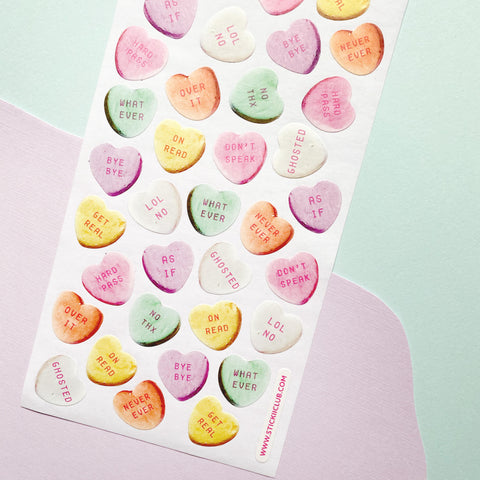 candy hearts valentines text sticker sheet