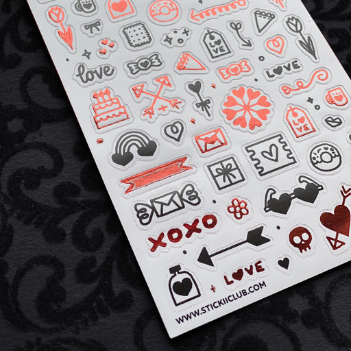 love icons black red sticker sheet