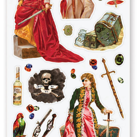 female pirates victorian women sticker sheet