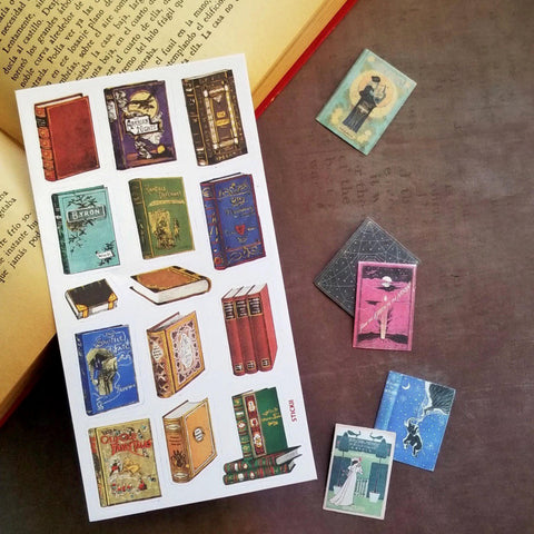 vintage library books stories sticker sheet