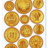 vintage treasure coins gold sticker sheet