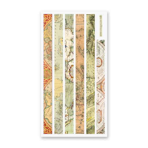 washi strip map travel sticker sheet