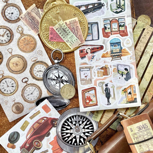 vintage cars train travel pocket watch compass sticker sheet pack