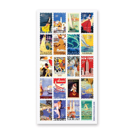 vintage stamp travel sticker sheet