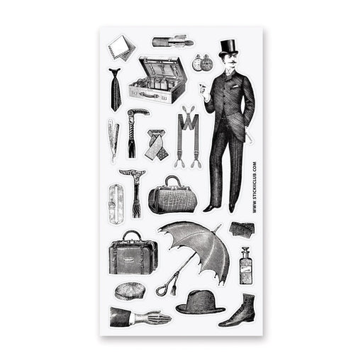 gentleman vintage victorian fashion sticker sheet