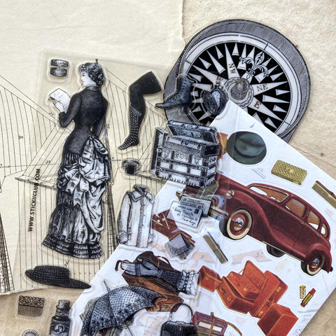 vintage victorian fashion travel sticker sheet