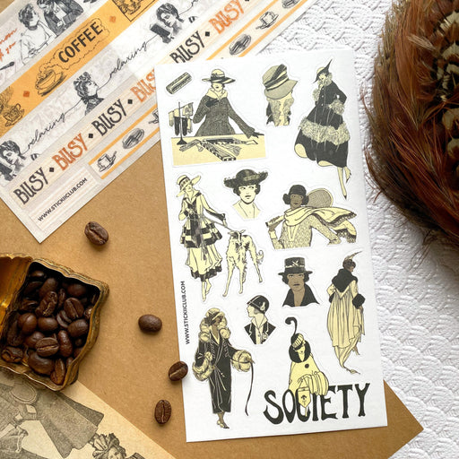 society ladies fashion women sticker sheet