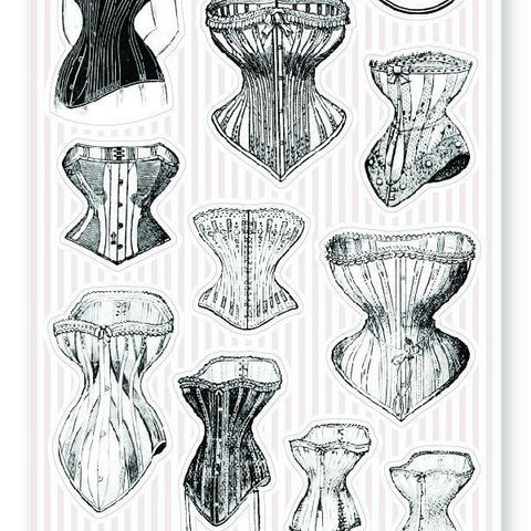 vintage victorian corset fashion women female body beauty sticker sheet
