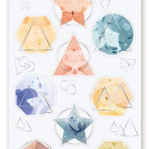 geometric shapes watercolor sticker sheet