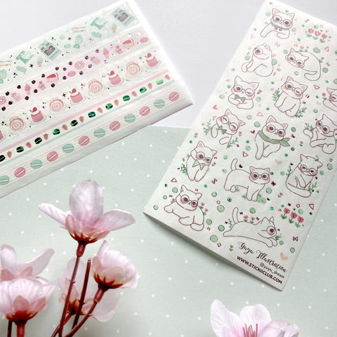 yuyu dream cat floral kitten white sticker sheet