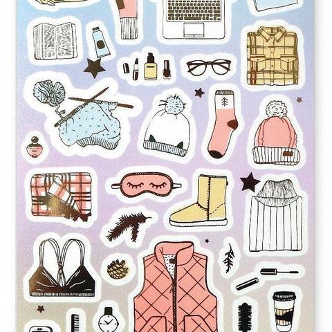 winter clothes fashion vest cozy pj sticker sheet