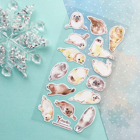 winter snow seal sticker sheet