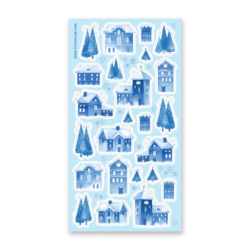 winter snowy christmas blue village neighborhood sticker sheet