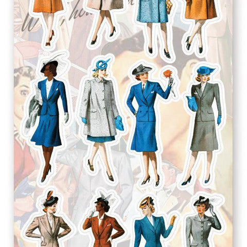 vintage retro fashion business chic woman female sticker sheet