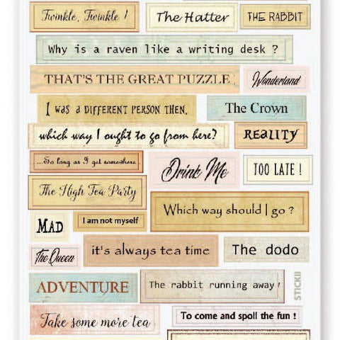 alice in wonderland quotes sticker sheet