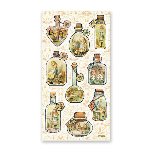 alice in wonderland jar bottle sticker sheet