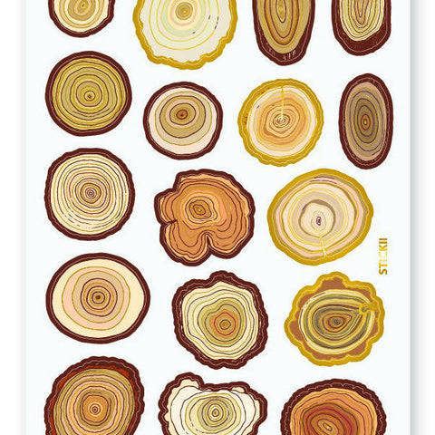 tree ring stump nature wood sticker sheet
