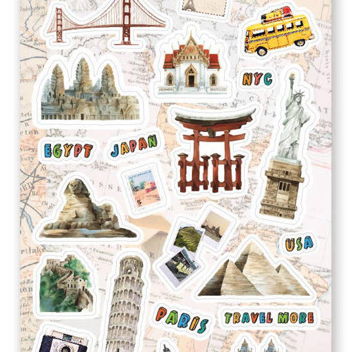 world travel trip london japan italy sticker sheet