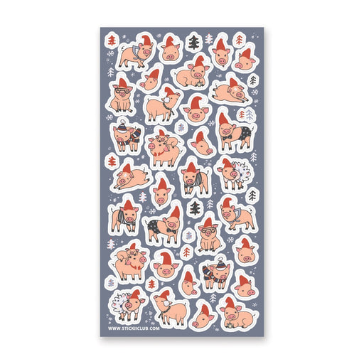 christmas winter snow pigs sticker sheet