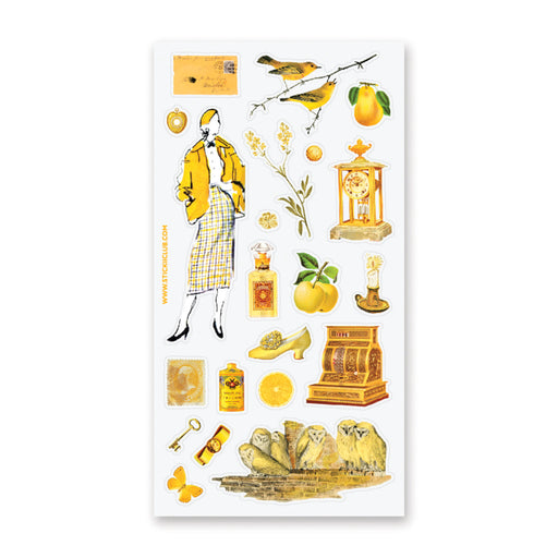 yellow outfit vintage owls flower floral sticker sheet
