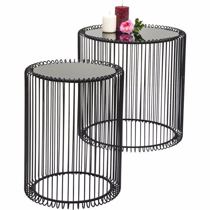 Wire Side Table Set - Black