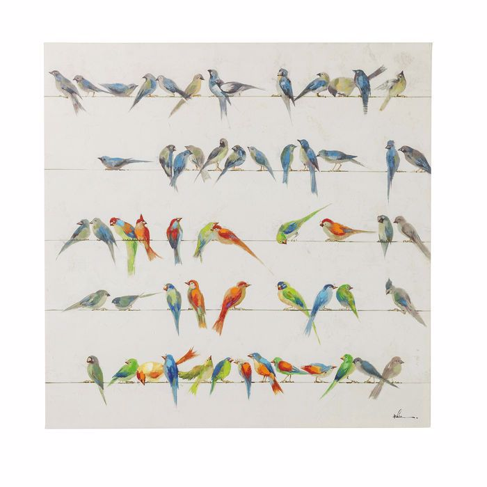 Birds Meeting Hand Touched Square