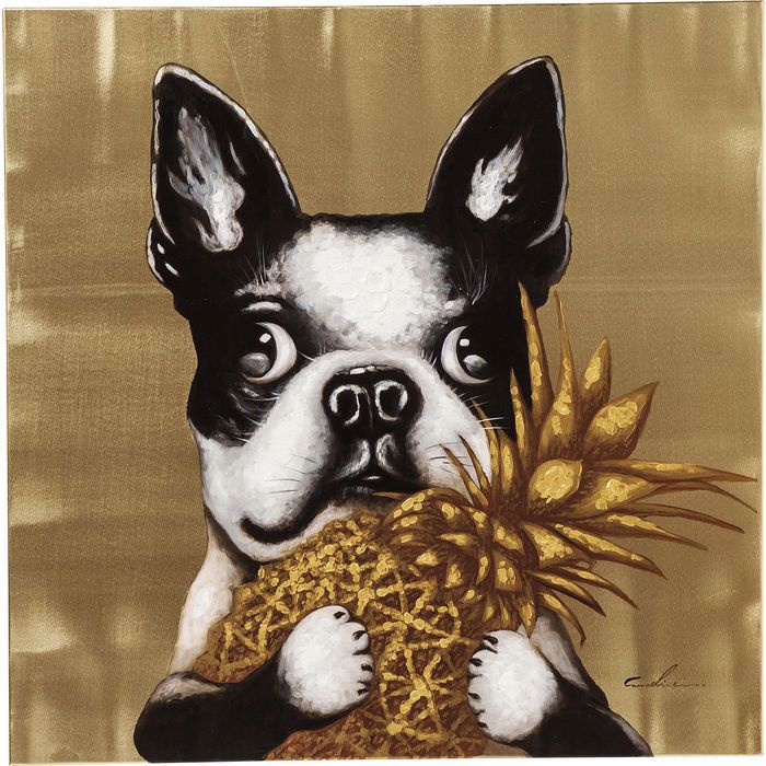 Dog with Pineapple Hand Touched