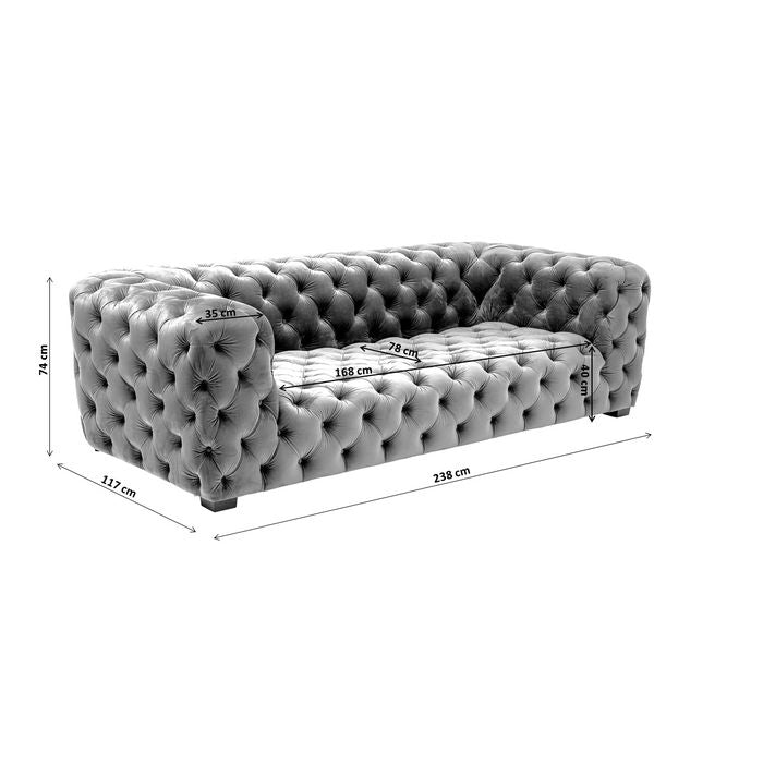 Sofa Metropol 3-Seater Grey 238