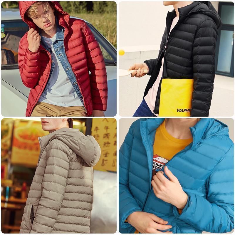 Unisex Lightweight Packable Down Jacket Hooded Winter Coat