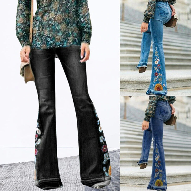 2021 New Fashion Gradient Flower Printed Jeans Flared Pants