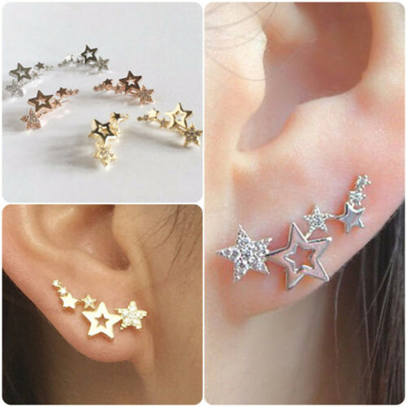 Exquisite Five-Pointed Star Diamond Earrings