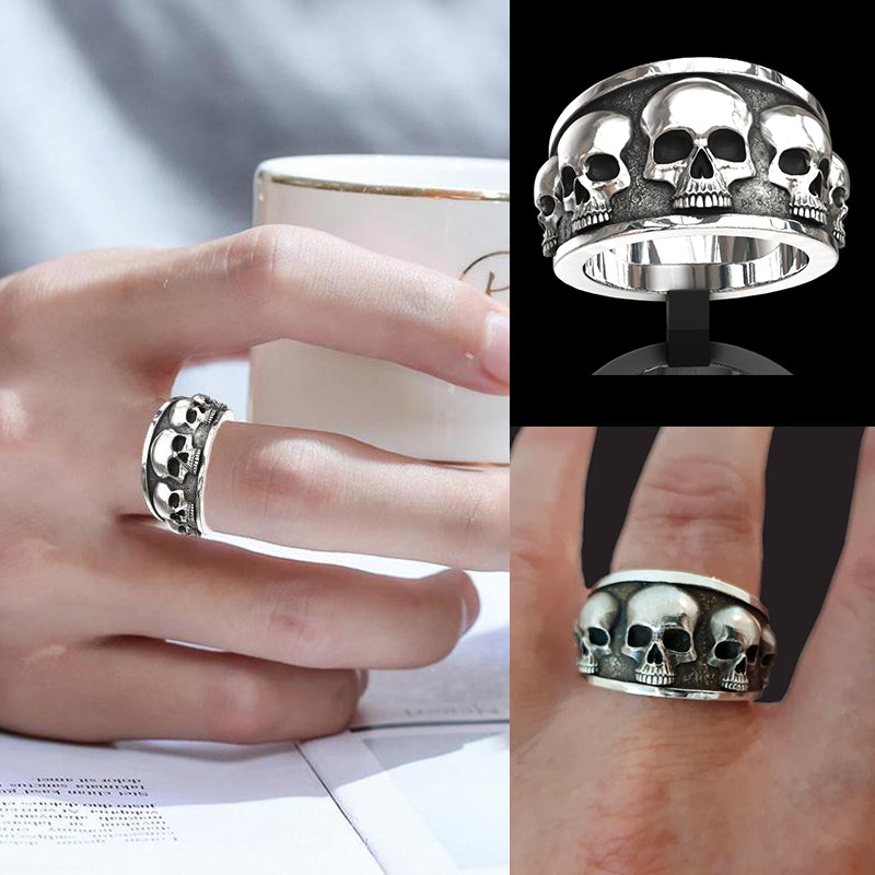 Five Skull Flared Band Ring