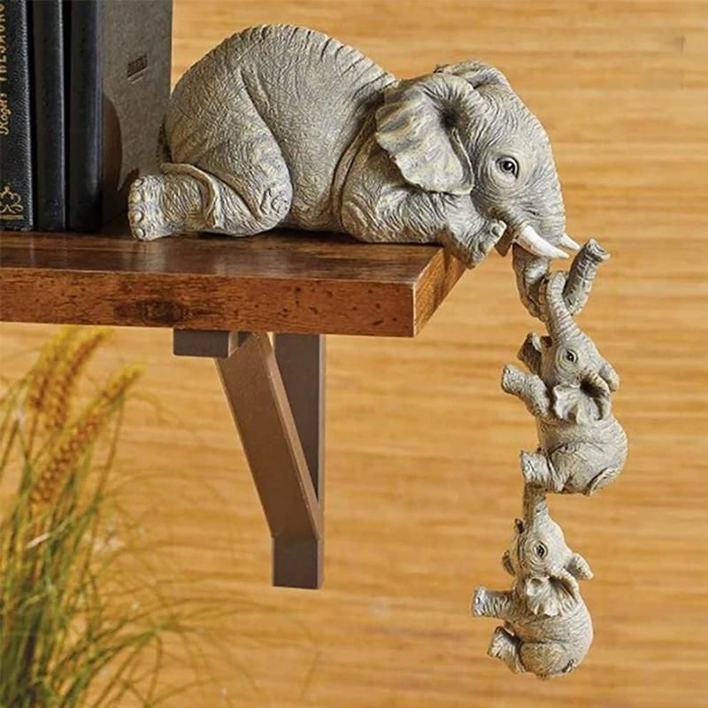 Elephant sitter hand-painted figurines