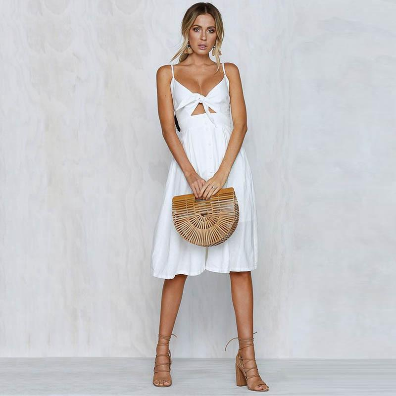 Spaghetti Strap Knitted Front Cutout Button Dress