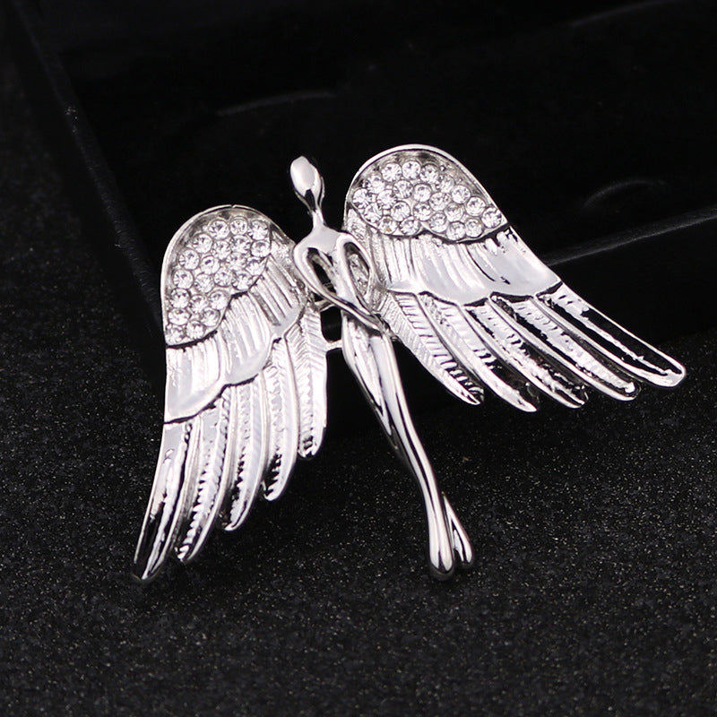 Crystal Angel Wings Brooch