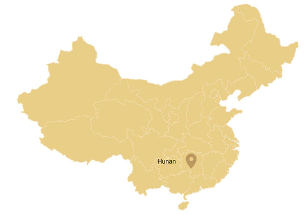 Hunan, a dark tea region in China (on a map)