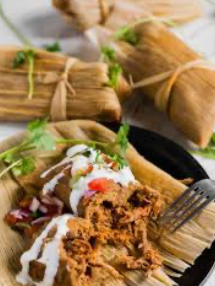 Heritage Pork Carnitas Tamales with salsa