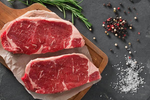 SALE! 2 thick Grass Fed Beef New York Steaks