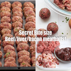 NEW Grass Fed beef/liver/bacon meatballs $28 lb