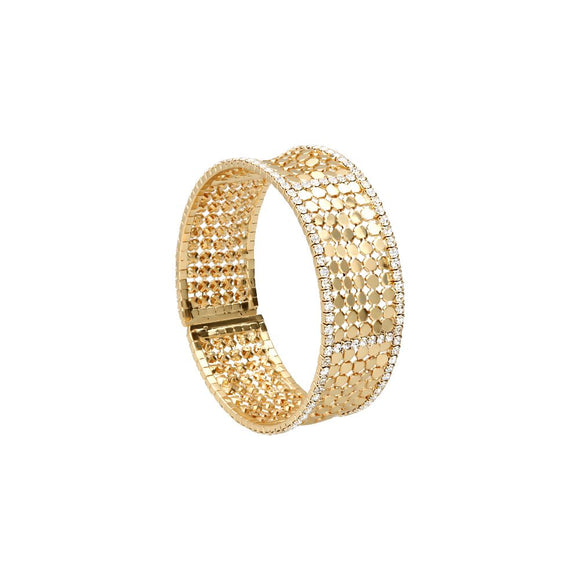 Bangle con strass in metallo dorato