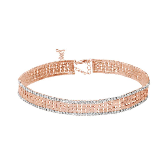 Chocker con strass in metallo rosato