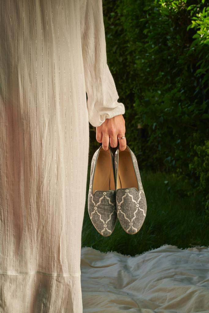 Grey Marquise Smoking Slippers