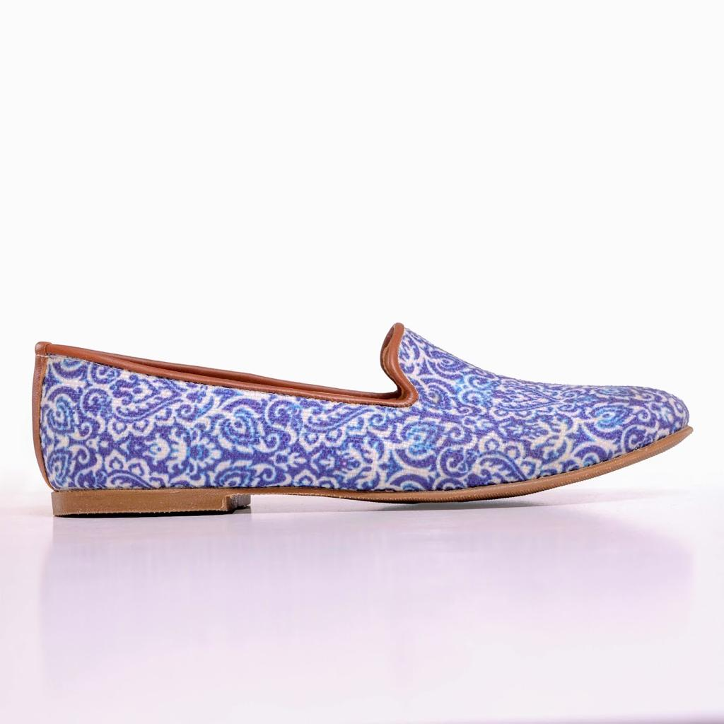 Blue Andalous Smoking Slippers