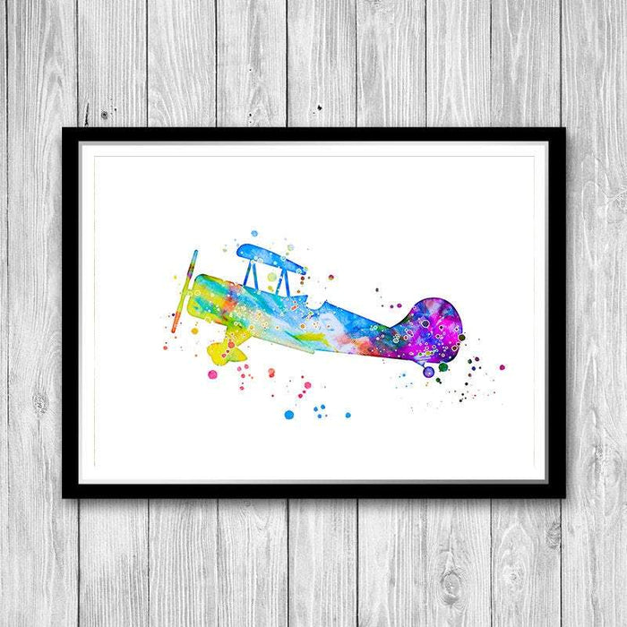 Aircraft Wall Art Watercolor print for nursery decor