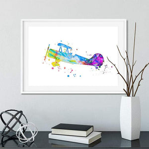 Aircraft Wall Art Watercolor print for nursery decor - PrintsFinds