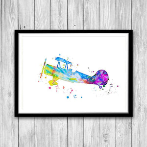 Airplane Set of 4 Watercolor Prints for Boys Room - PrintsFinds