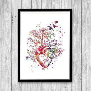 Anatomy Art Heart Tree Watercolor Print for Doctor office decor - PrintsFinds