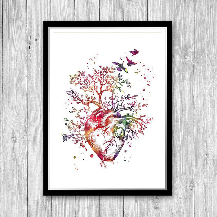 Anatomy Art Heart Tree Watercolor Print for Doctor office decor