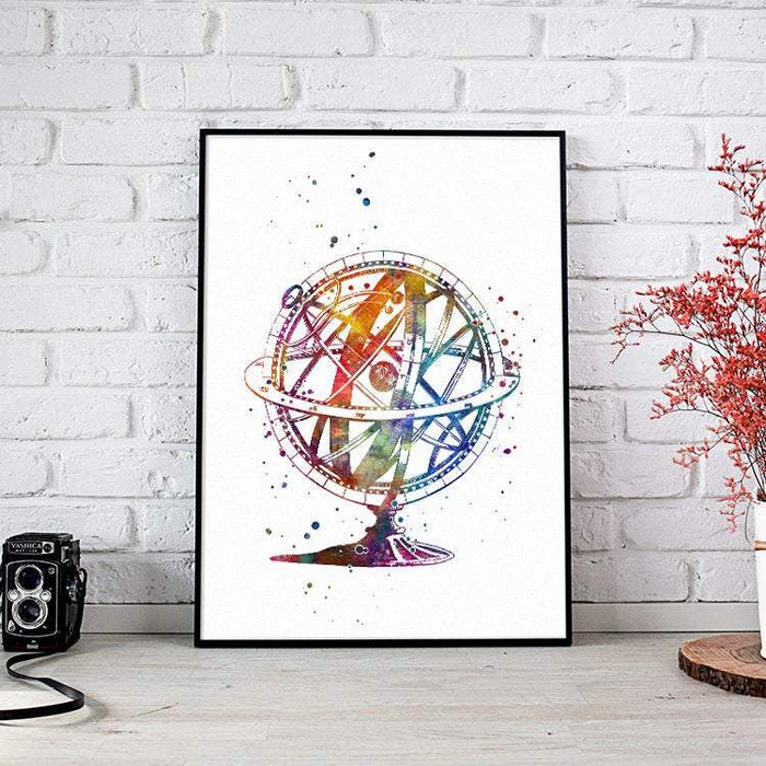 Astronomy Art Armillary Sphere Watercolor Print Science art